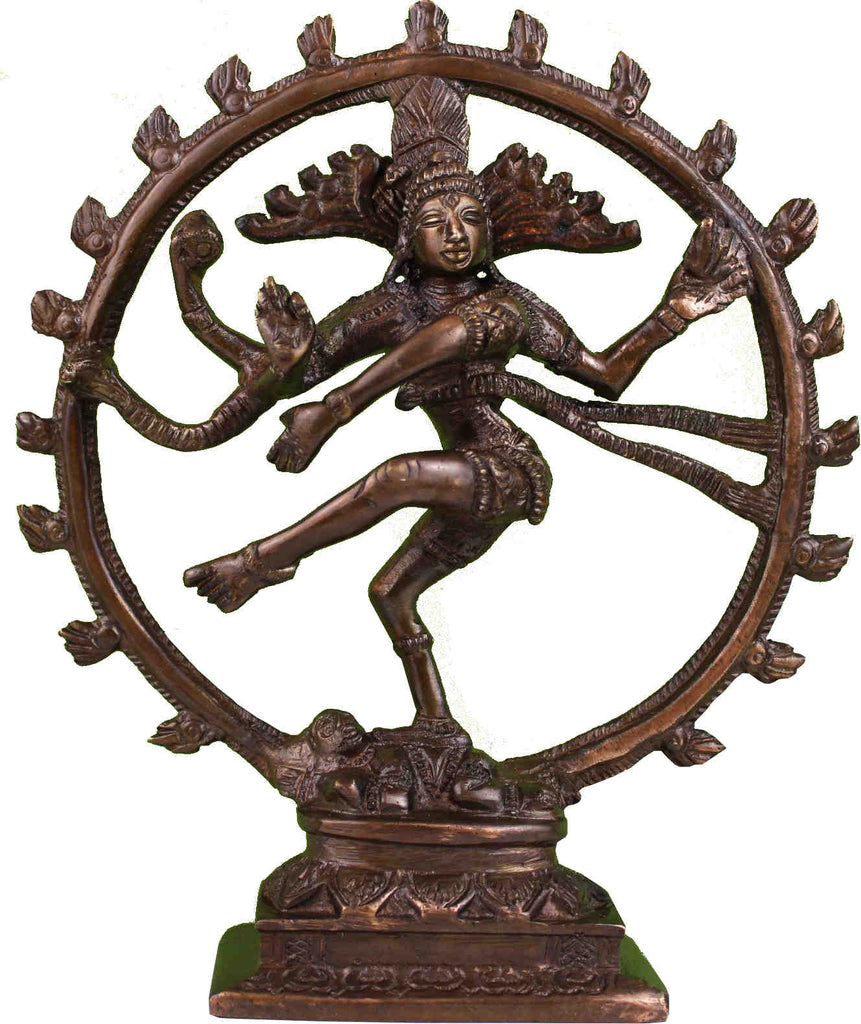 Handcarfted Hindu God Shiva Nataraja Dancing God Brass Statue Figurine Sculpture Bronze Finish Home Decor 8 Inches High - Sweet Us