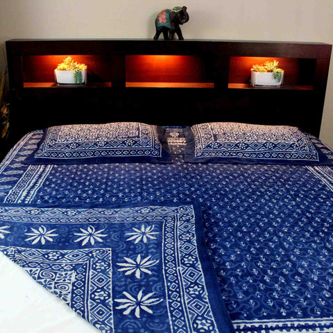 Handmade Cotton Reversible Duvet Cover Indigo Dabu 100% Cotton Full Queen - Sweet Us
