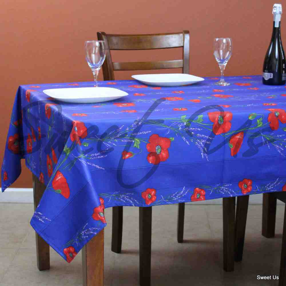 Wipeable Tablecloth Rectangle Spillproof French Acrylic Coated Poppy Stripes