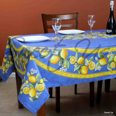 French Acrylic Coated Cotton Round Tablecloth Rectangle Lemon Blue Green