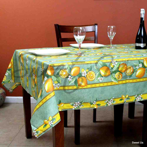 French Acrylic Coated Cotton Tablecloth Rectangle Lemon Blue, Green, Orange
