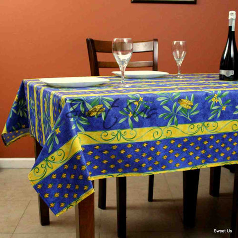 Wipeable Tablecloth Rectangle Spillproof French Acrylic Coated Blue Bees