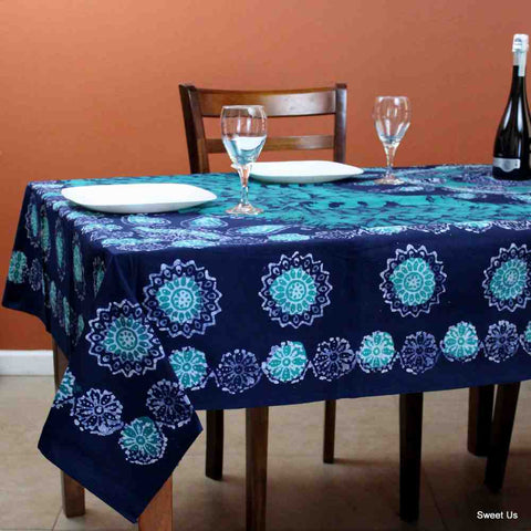 Cotton Batik Floral Tablecloth Rectangle 70x106 Blue Purple Turquoise