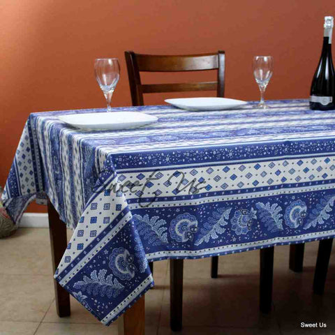 Wipeable Tablecloth 60x78 Spillproof French Acrylic Coated Fleur Feuille Blue