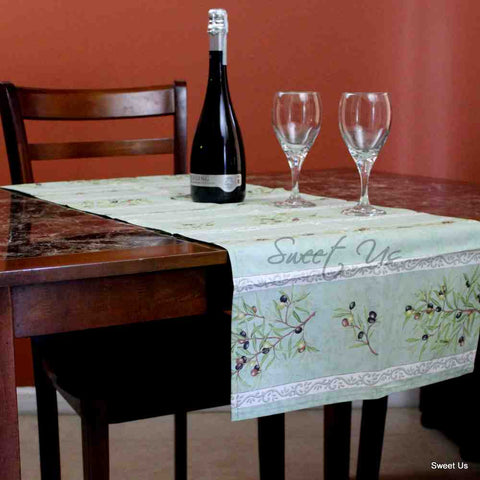 Wipeable Table Runner Spillproof French Acrylic Coated Clos De Oliviers