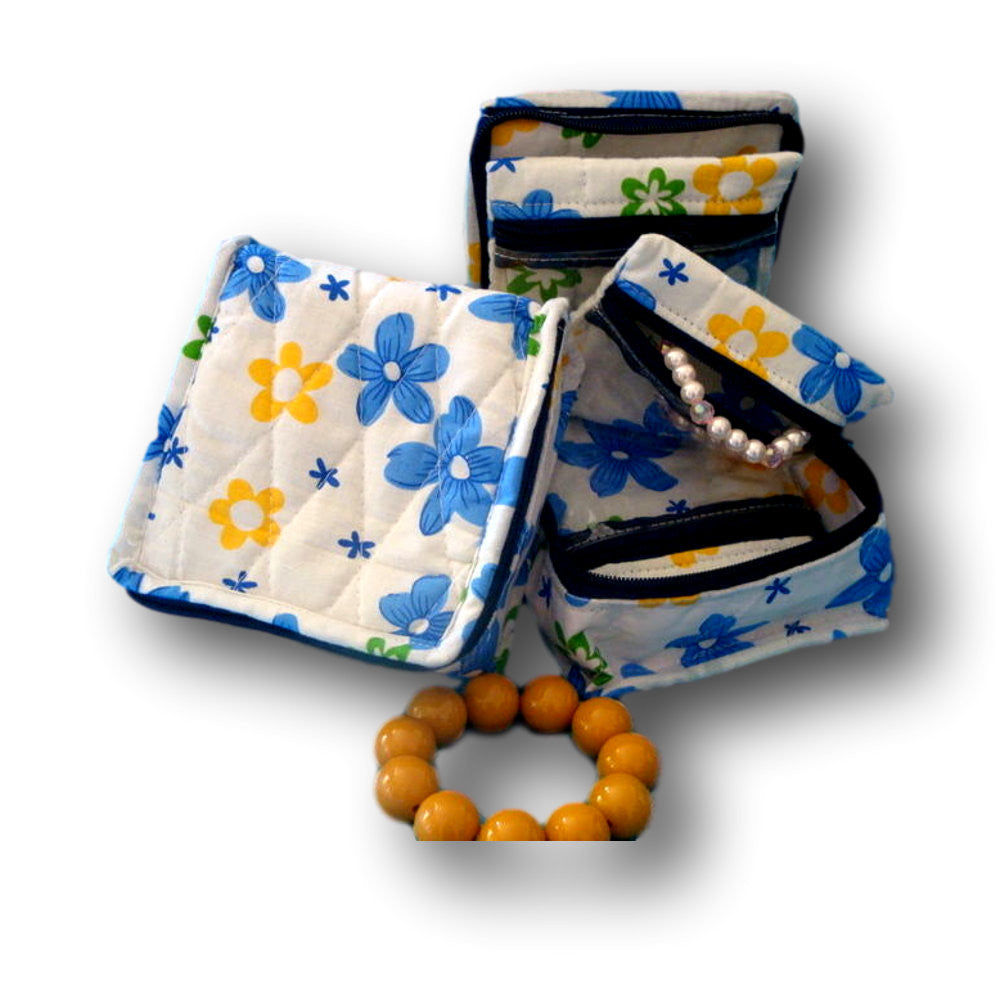 Handmade Quilted 100% Cotton Cosmetic Bag Jewelry Bag Travel Pouch Floral Yellow Blue - Sweet Us