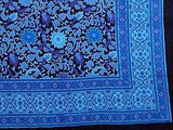 Handmade 100% Cotton Sunflower Tapestry Bedspread Tablecloth Full Dreamy Blue