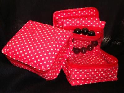Handmade Quilted 100% Cotton Cosmetic & Jewelry Bag Polka Dot Red - Sweet Us