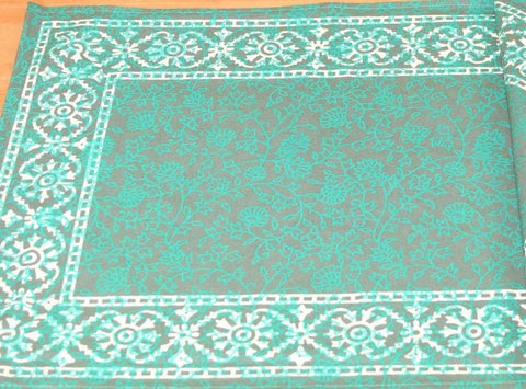 Handmade Cotton Floral Bouquet Filigree Placemat Table Linen Greens Rectangular - Sweet Us