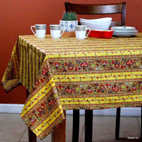 Wipeable Tablecloth Spillproof French Acrylic Coated Indienne Fleur White Yellow