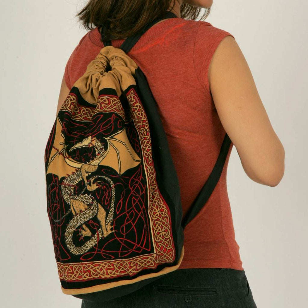 Cotton Bohemian Hippie Celtic Dragon Backpack Bag Shopping Work Bag Blue Red - Sweet Us