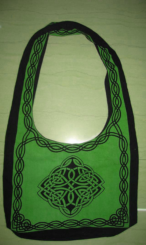 Handmade Cotton Celtic Hobo Bag for Shopping Work Tote Flat Bottom 15x12 inches - Sweet Us