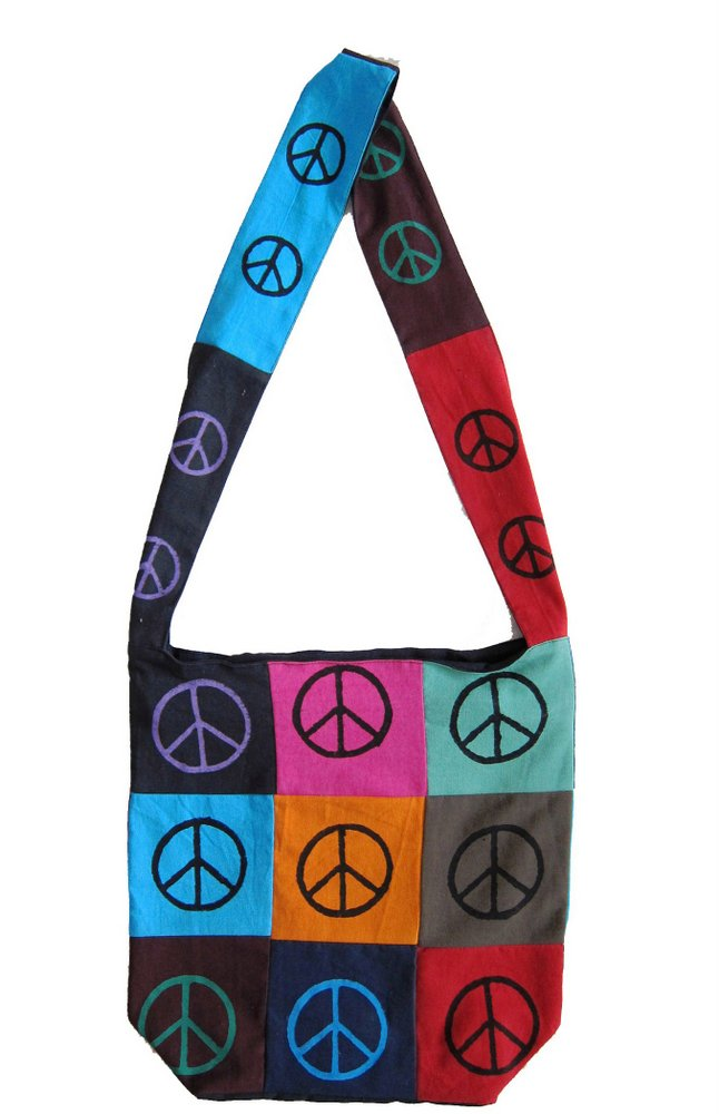 Cotton Bohemian Sling Hippie Peace Sign Hobo Bag Shopping Tote Work Bag - Sweet Us
