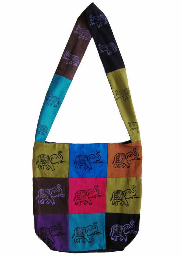 Handmade Cotton Bohemian Sling Hippie Elephant Design Hobo Bag Shopping Tote Work Bag - Sweet Us