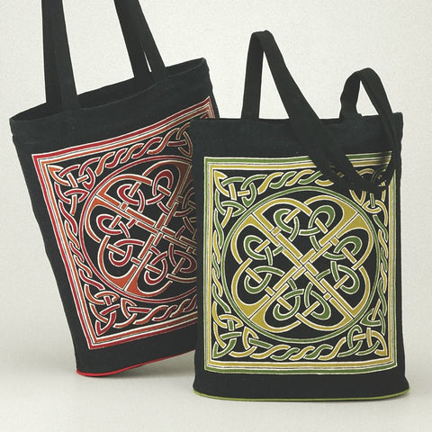 Handmade Expandable Celtic Wheel of Life 100% Cotton Tote Bag Shopping Work Bag 16x17