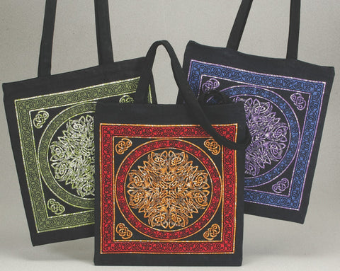 Handmade Celtic Wheel of Life 100% Cotton Tote Bag Shopping Work Bag 16x19
