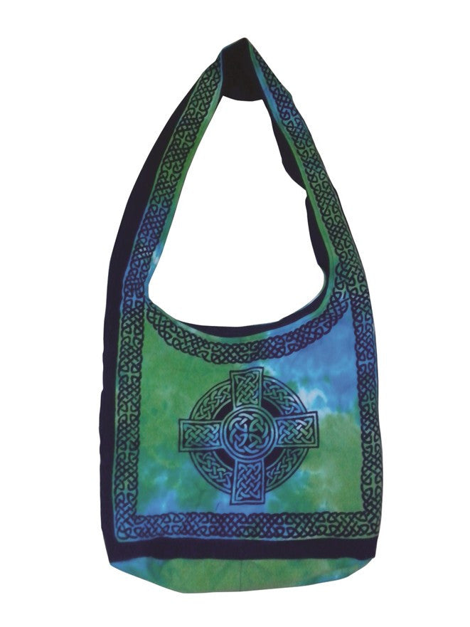 Handmade Cotton Celtic Cross Hobo Bag for Shopping Work Tote Flat Bottom 15x12 - Sweet Us
