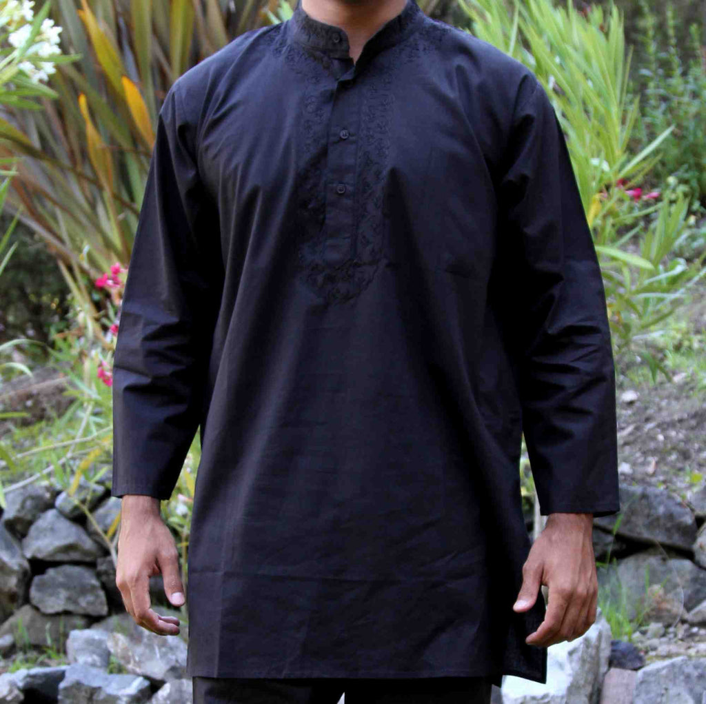 Shirt Tunic Kurta & Pant Set Unisex Soft Cotton Black Large Embroidered - Sweet Us