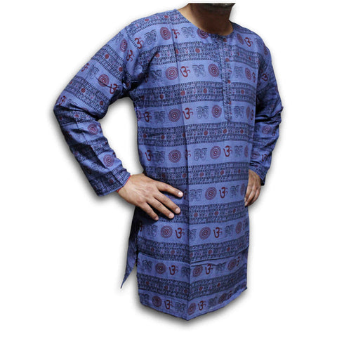 Shirts for Men Tunics for Women Kurta for Men Om Shirt Soft Cotton Blue Saffron