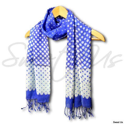 Large Scarf for Women Lightweight Soft Sheer Polka Dot Rayon Scarf Blue, Purple - Sweet Us