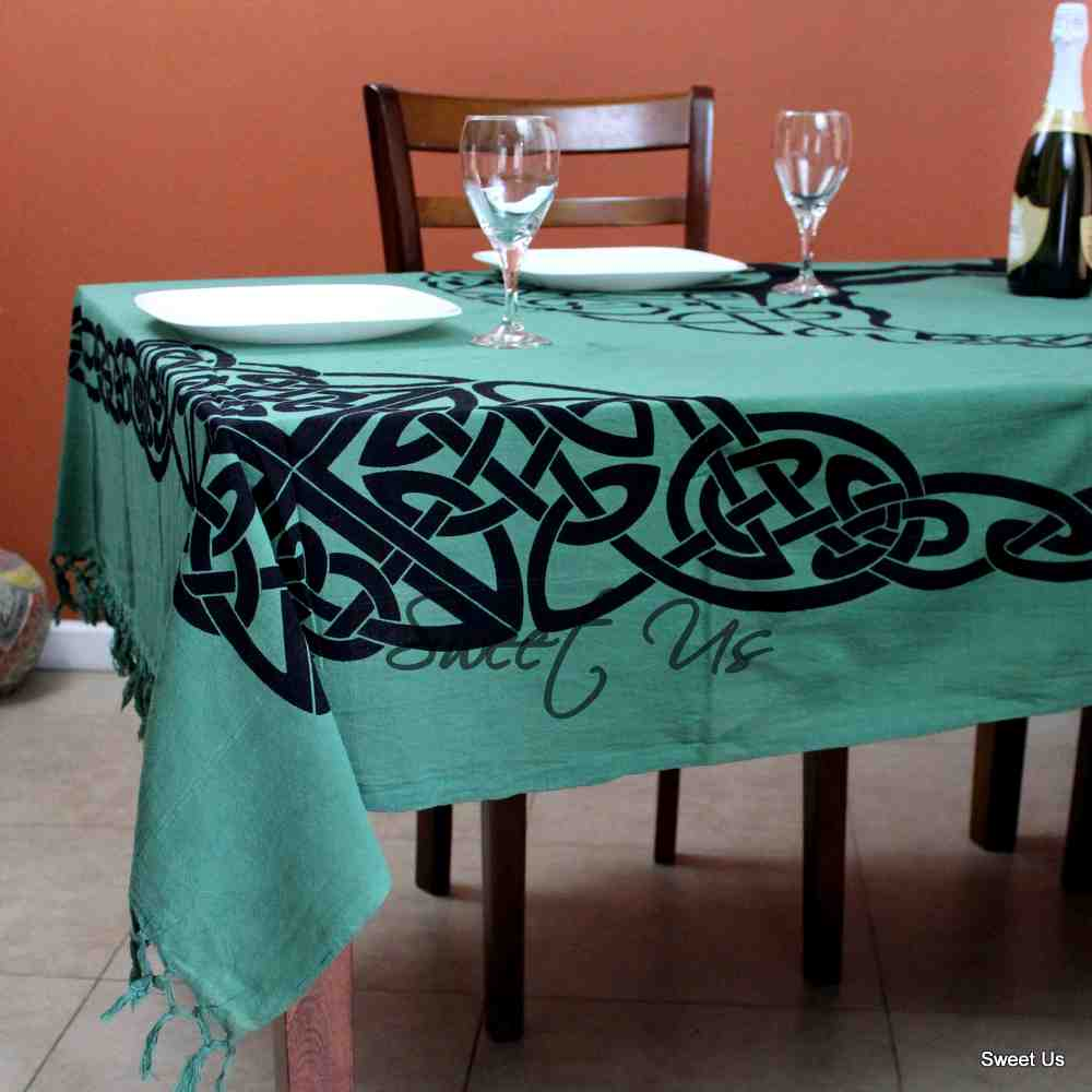 Celtic Tapestry Tree of life Tablecloth Rectangle Bedspread Cotton Fringes