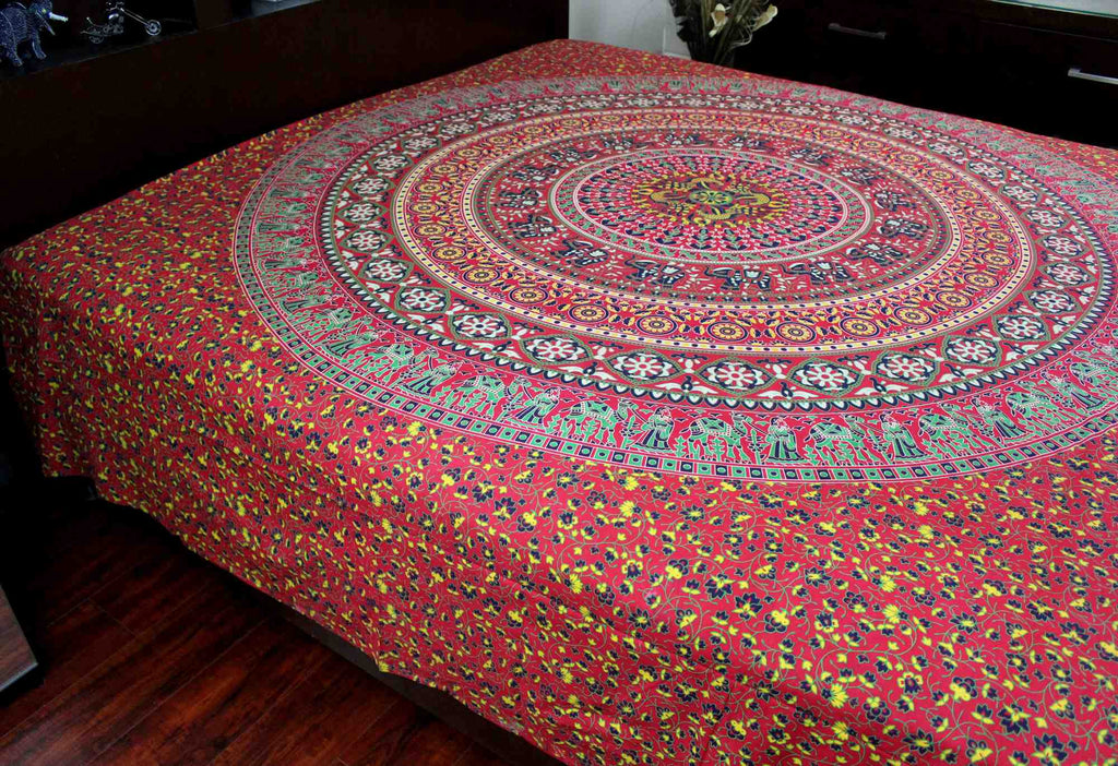 Handmade Sanganer Floral Mandala 100% Cotton Tapestry Tablecloth Spread Full - Sweet Us