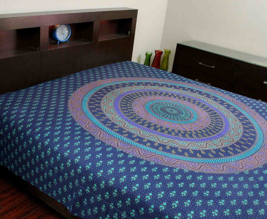 Handmade Sanganer Floral Mandala 100% Cotton Tapestry Tablecloth Spread Twin Full