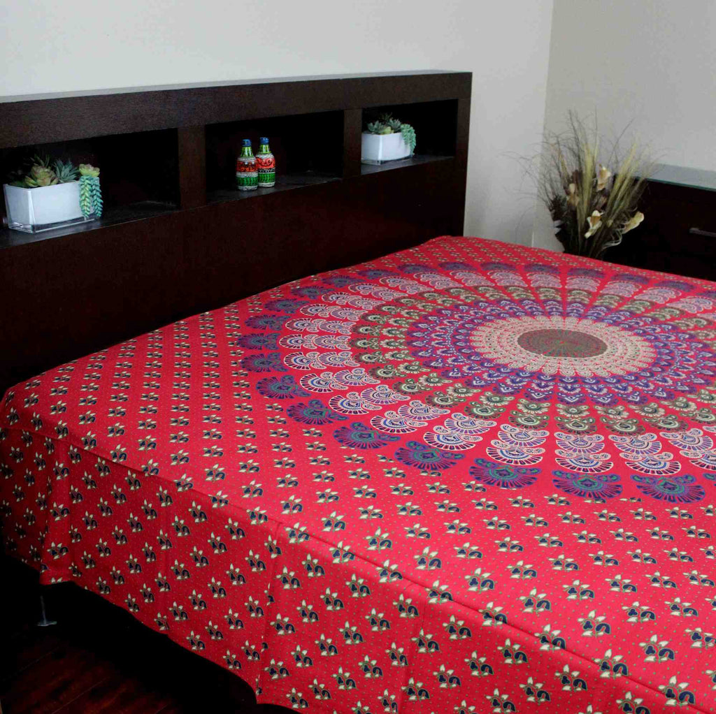 Sanganer Peacock Mandala Cotton Tapestry Tablecloth Bedspread Twin Full