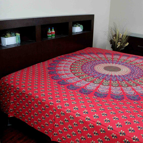 Sanganer Peacock Mandala Cotton Tapestry Tablecloth Bedspread Twin Full - Sweet Us