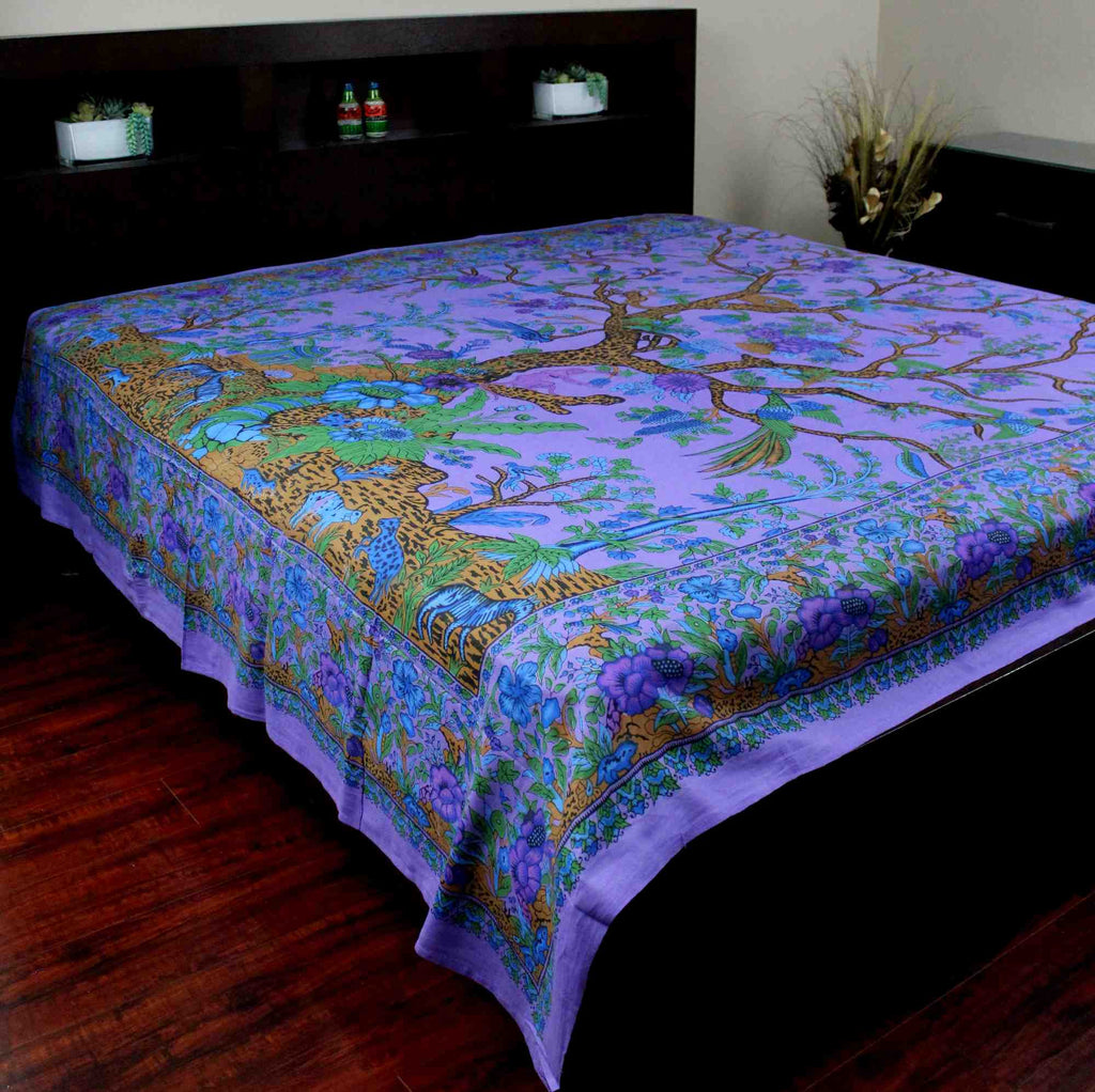 Handmade Cotton Tree of Life Tapestry Throw Tablecloth Spread Twin Purple 70x104 - Sweet Us