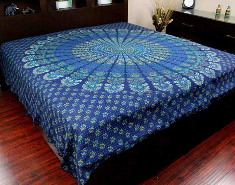 Handmade 100% Cotton Sanganer Peacock Mandala Tapestry Spread Queen 106x106 Blue - Sweet Us
