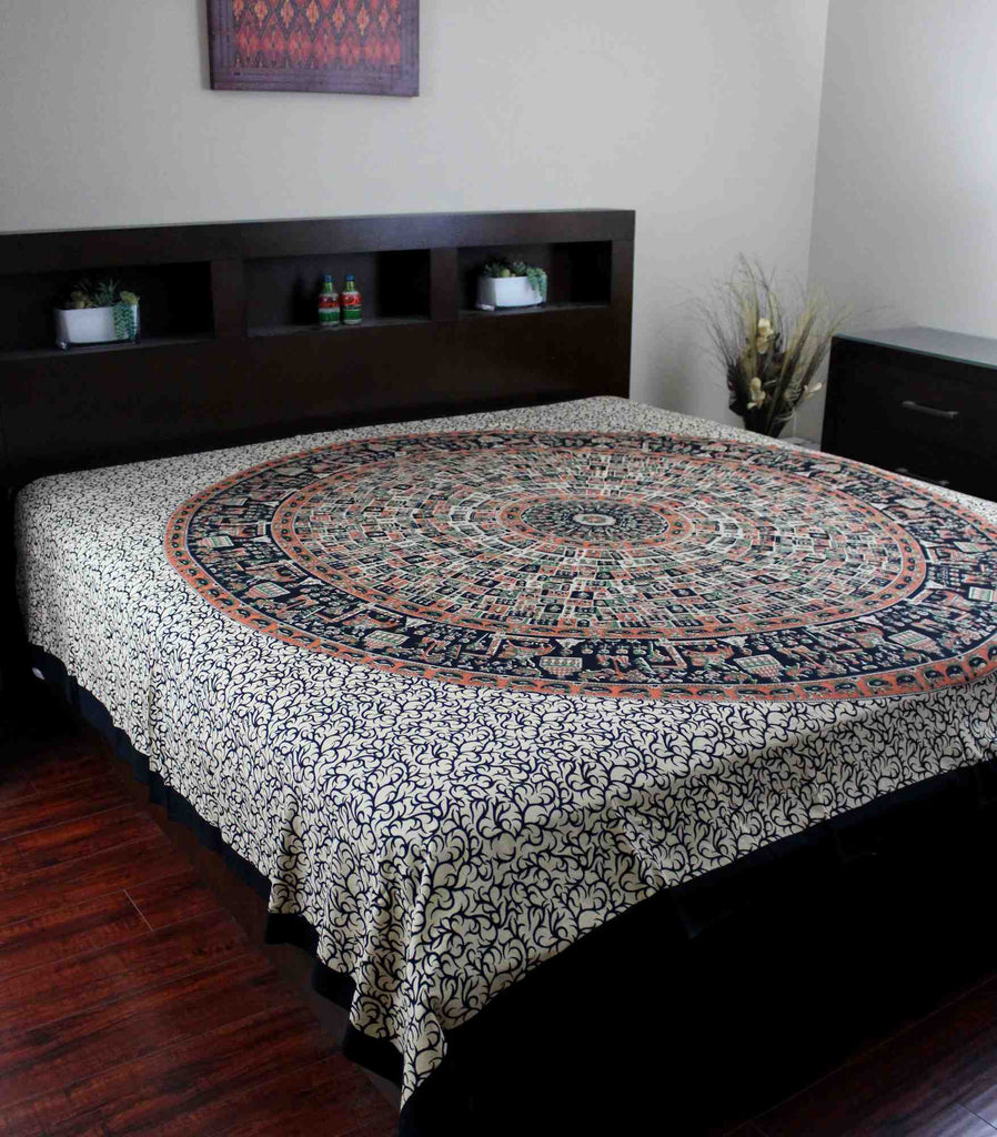 Jaipur Bagru Mandala Tapestry Tablecloth Throw Coverlet Bedspread Gorgeous Twin - Sweet Us