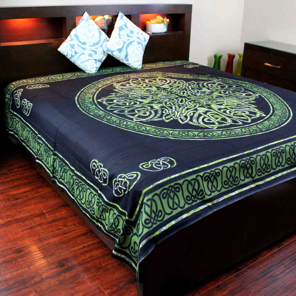 Celtic Circle Wheel Of Life Cotton Tapestry Spread Twin Full Queen King Green Black