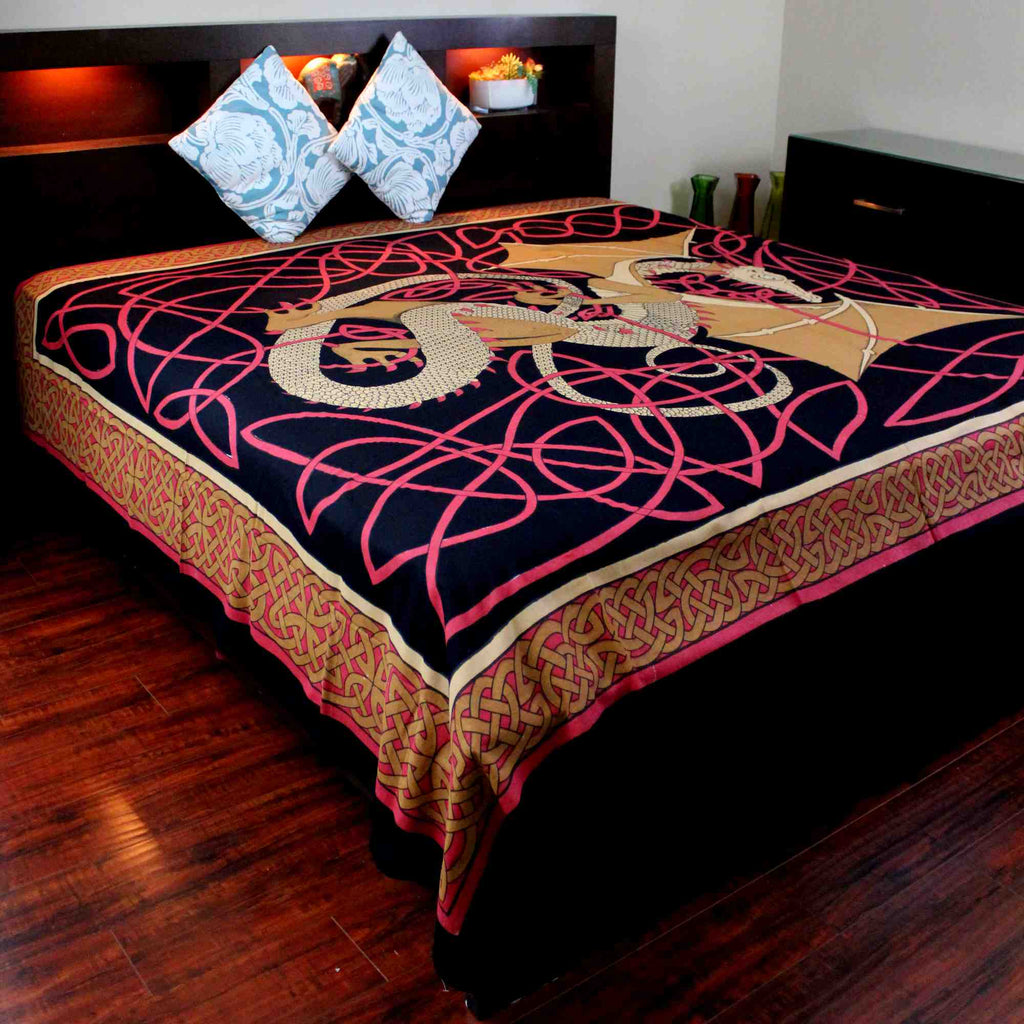 Cotton Celtic Dragon Tapestry Tablecloth Thin Bedspread Twin Full Red - Sweet Us