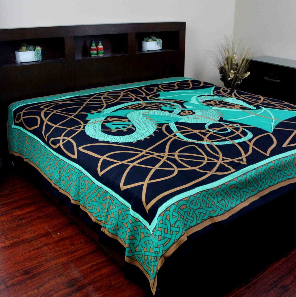 Handmade Cotton Celtic Dragon Tapestry Tablecloth Bedspread Twin Full Green - Sweet Us