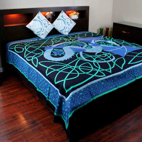 Cotton Celtic Dragon Tapestry Bedspread Beach Sheet Dorm Decor Twin Full Blue