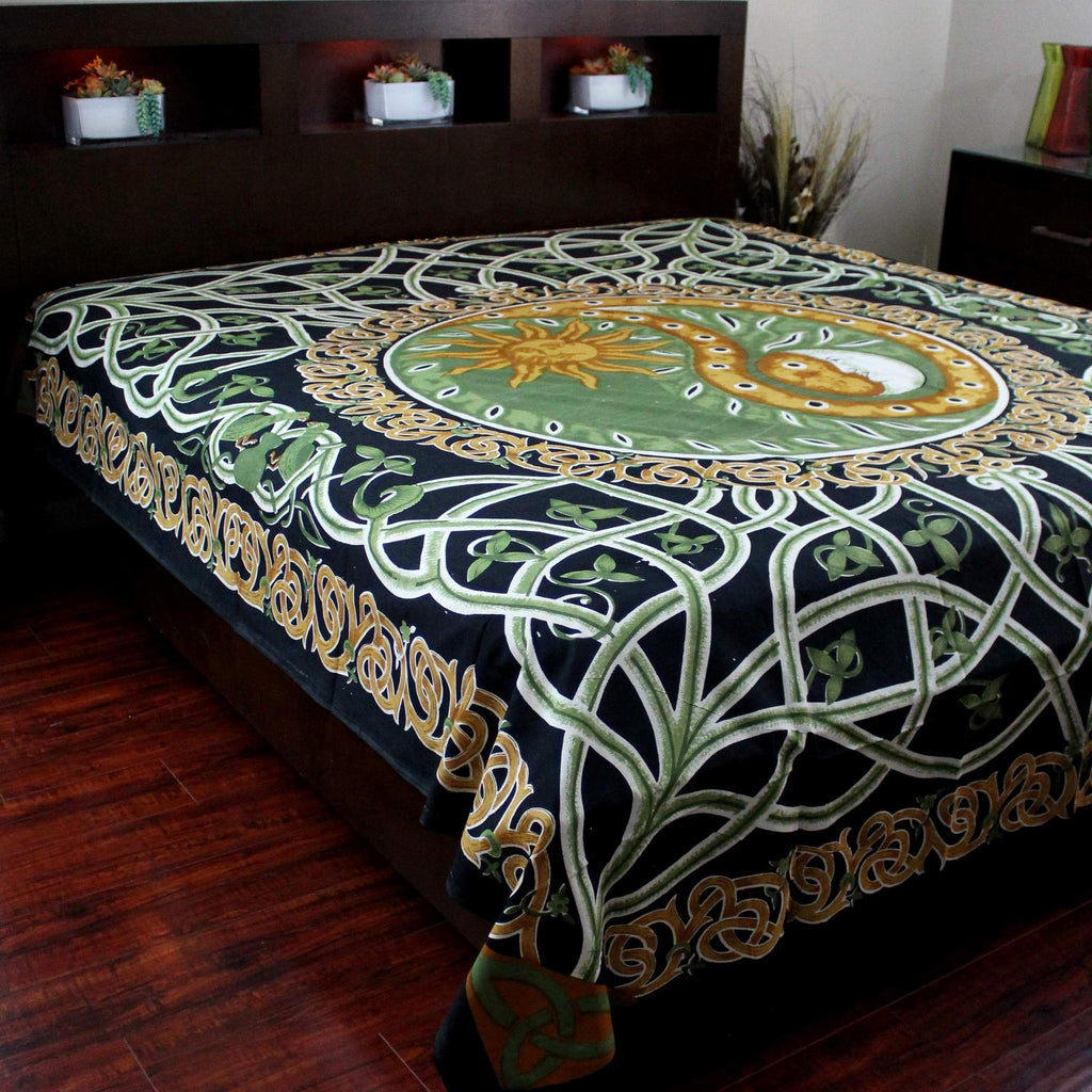 Celestial Yin Yang Tapestry Cotton Tablecloth Copper Celtic Bedspread Twin Full