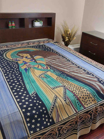 Handmade Cotton Celtic Peace Angel Tapestry Tablecloth Coverlet Throw 88x106 Inches - Sweet Us