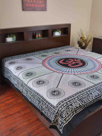 Handmade 100% Cotton Mandala Om Tie Dye Tapestry Tablecloth Spread Full Yoga - Sweet Us