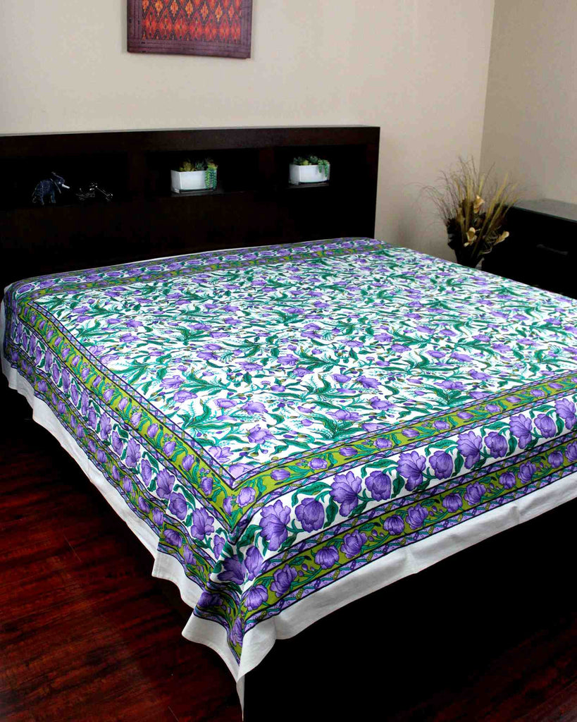Handmade 100% Cotton Floral Print Tapestry Tablecloth Coverlet Bedspread Full - Sweet Us