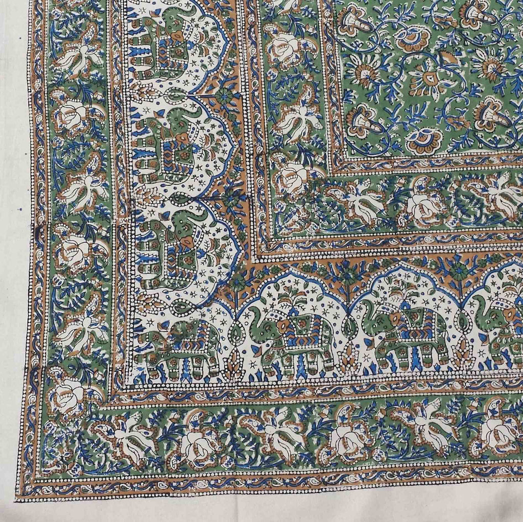 Handmade Cotton Kalamkari Floral Elephant Tapestry Coverlet Spread 90x108 Green - Sweet Us