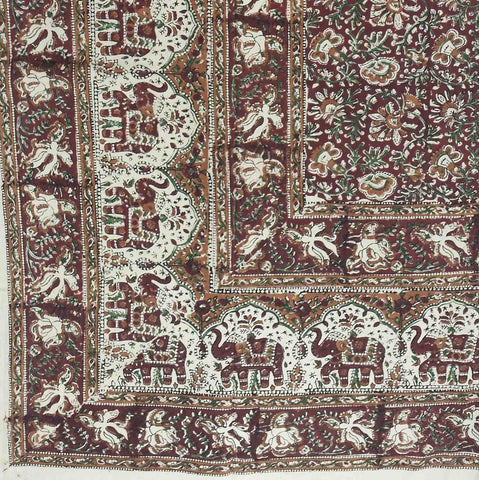 Handmade Cotton Kalamkari Floral Elephant Tapestry Coverlet Queen Earthy Red - Sweet Us
