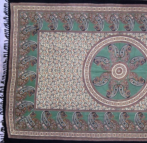 Handmade Cotton Paisley Mandala Tapestry Tablecloth Spread Full with Fringes - Sweet Us