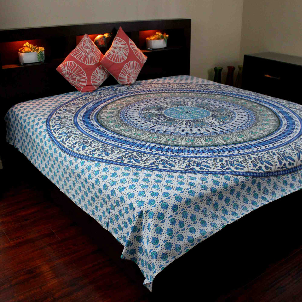 Elephant Mandala Tapestry Cotton Tablecloth Bedspread Beach Sheet Twin Full Blue