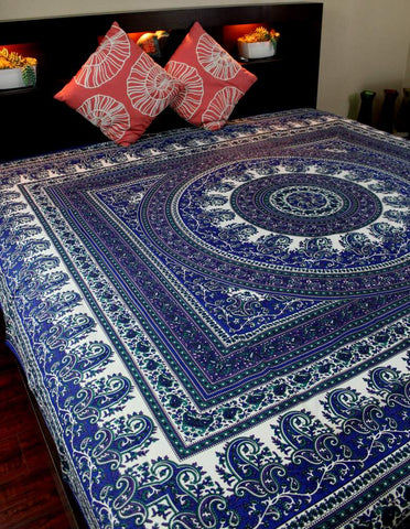Cotton Paisley Mandala Floral Tapestry Tablecloth Spread Twin Full Blue Purple