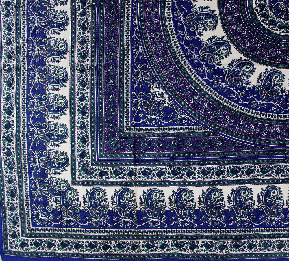 Cotton Mandala Paisley Floral Tapestry Tablecloth Rectangle Blue Purple Brown