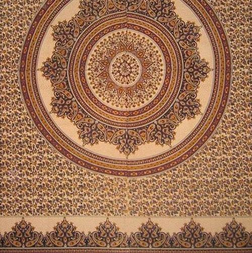 Handmade Cotton Floral Jaipur Paisley Mandala Tablecloth Tapestry Earthy 87x90 - Sweet Us