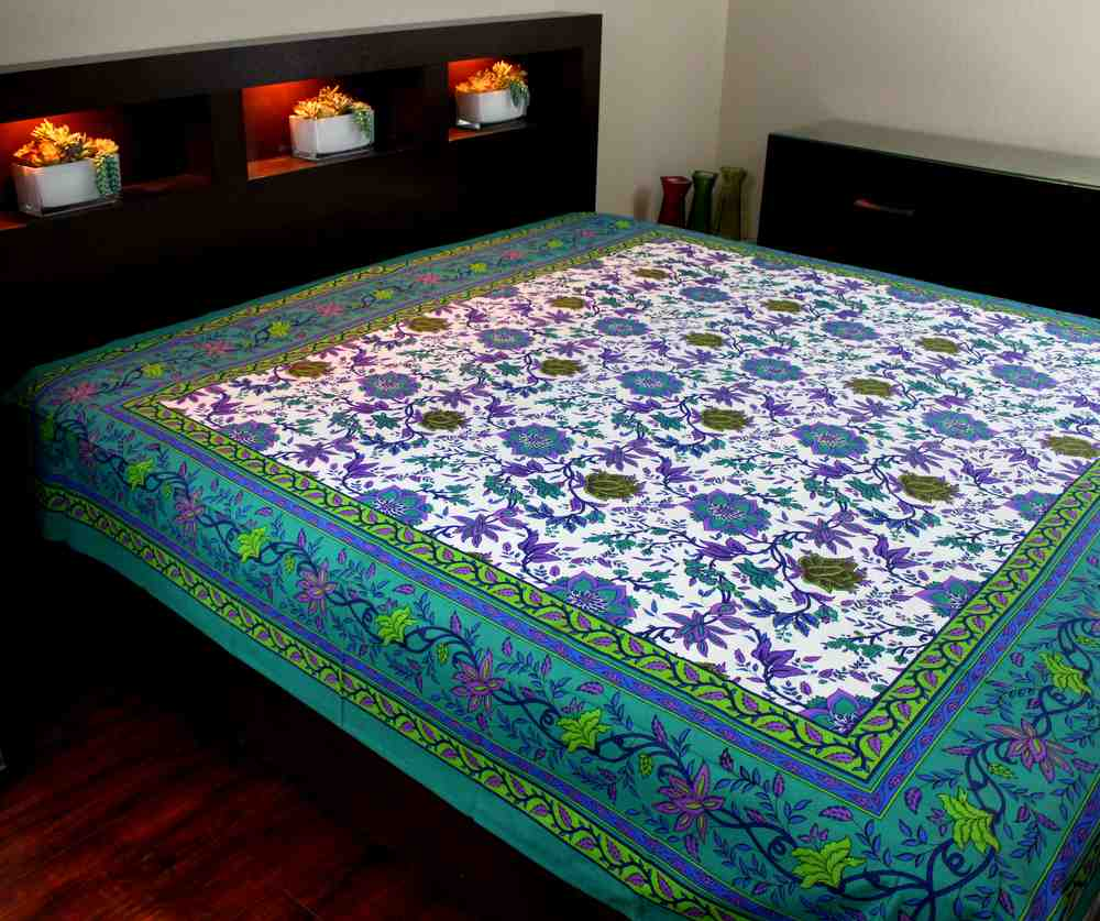 Cotton Floral Tapestry Tablecloth Rectangular Bedspread Aquamarine - Twin, Full