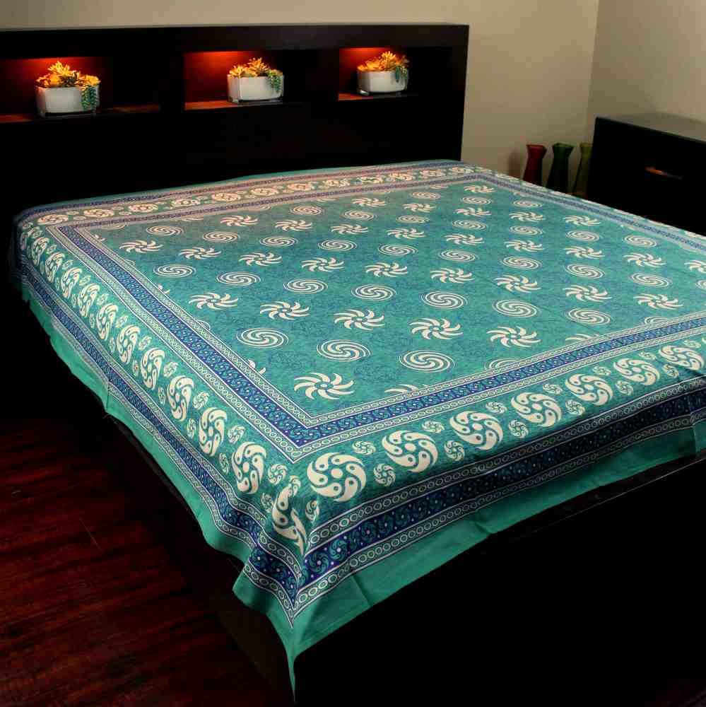Cotton Sunflower Spiral Tapestry Bedspread Tablecloth Square Turquoise 87x90