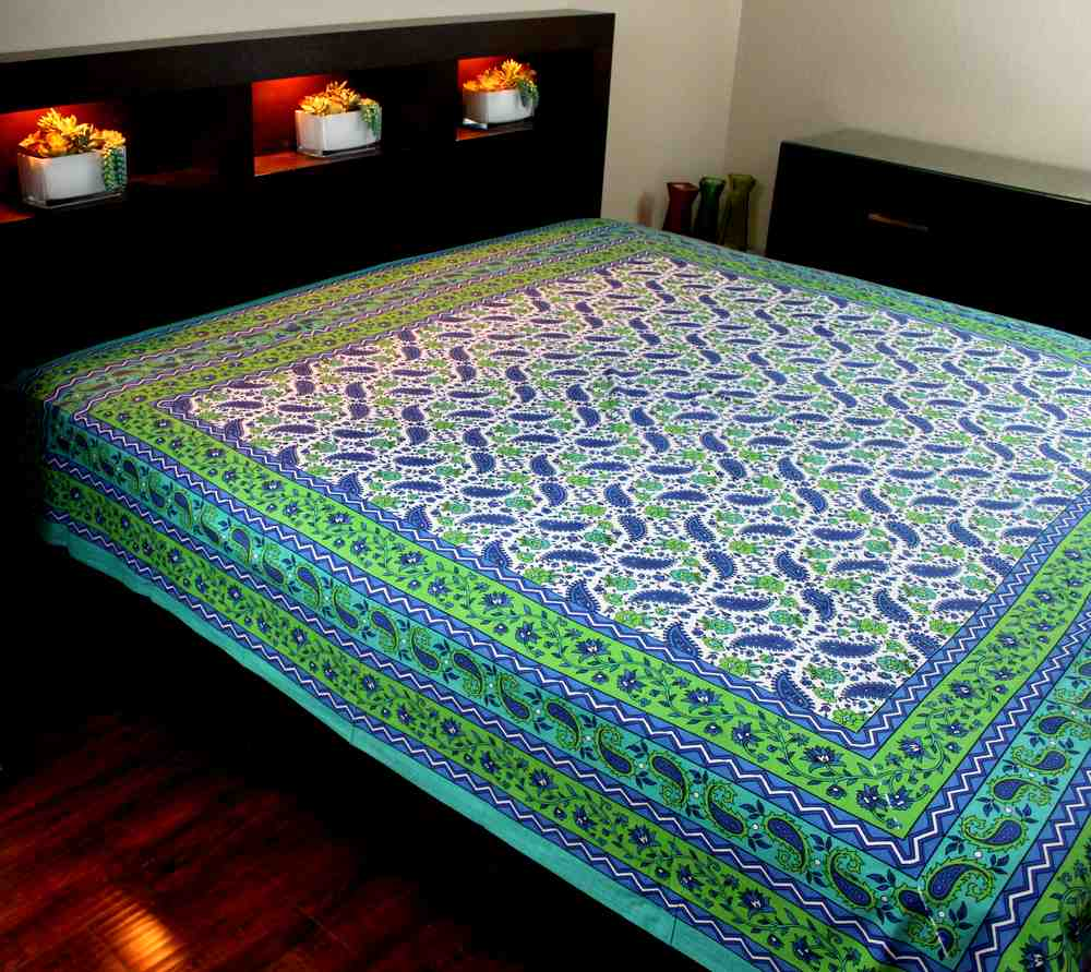 Cotton Floral Paisley Tapestry Tablecloth Coverlet Bedspread Full Aqua Green - Sweet Us